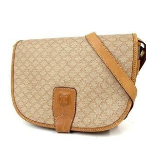 Auth Celine Macadam Crossbody Bag #491L454